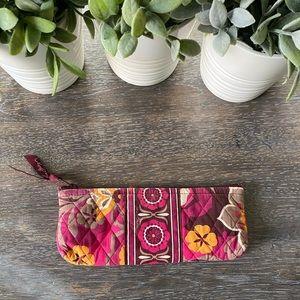 Vera Bradley long narrow pouch pink brown orange